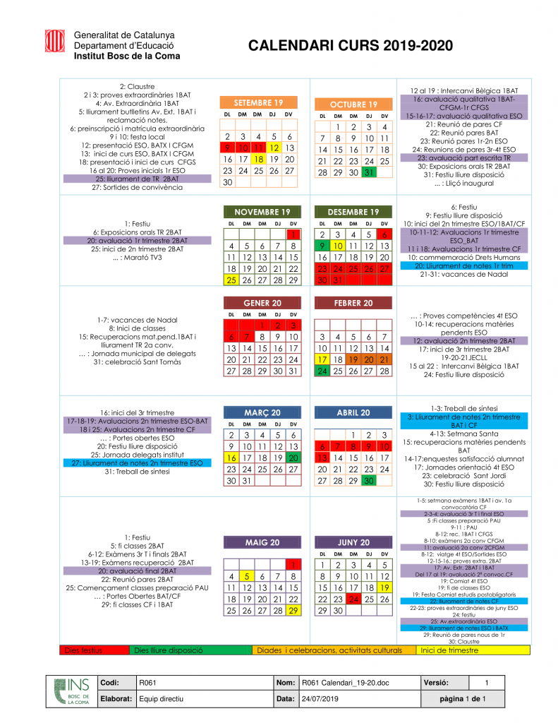 Calendari curs 2019-20