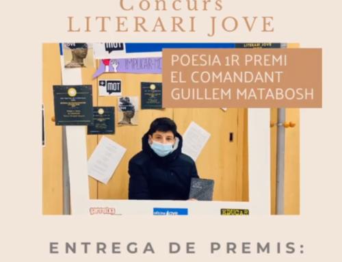 """Guillem Matabosch, alumne de 1r de Batxillerat Humanístic, guanya el 1r premi del Concurs literari +MOT amb un poema titulat """"El comandant""""."""
